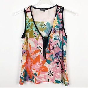 Nanette Lepore | Silk Top Ruffle Tie Floral